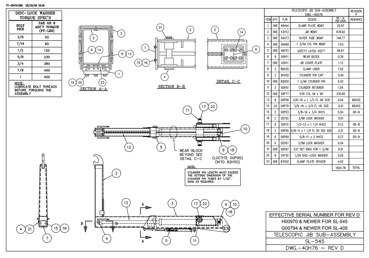 SL-545 Telescopic Jib Sub-Assembly Diagram
