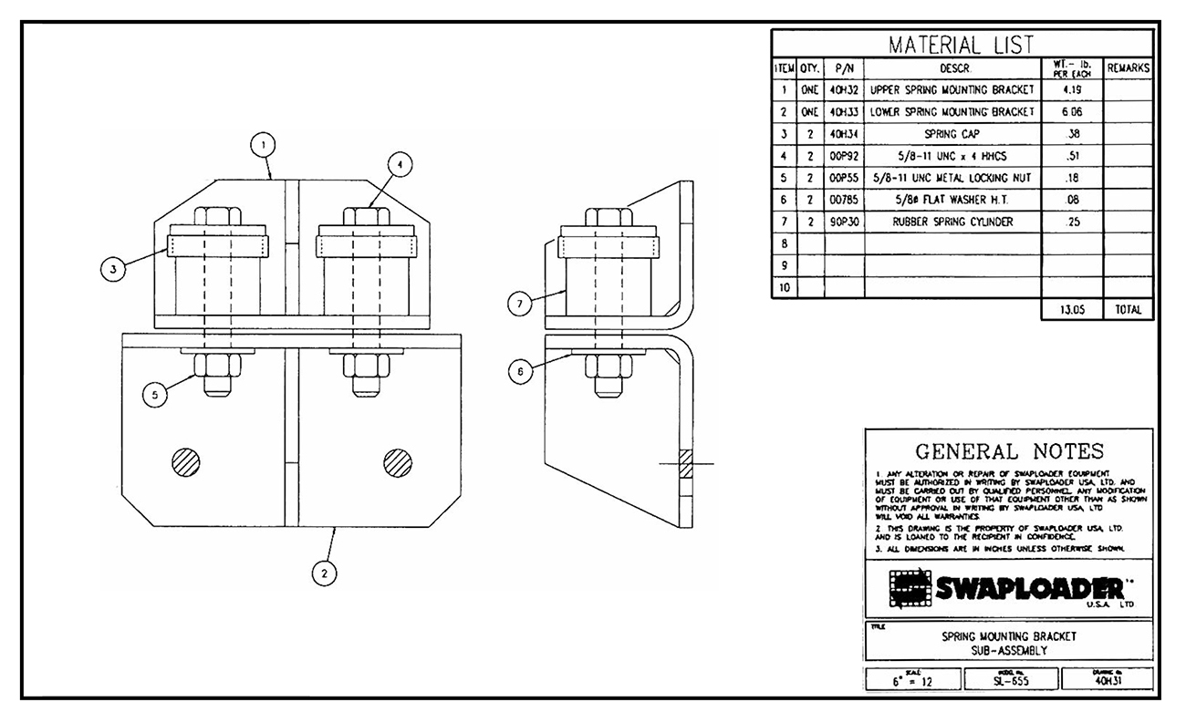 SL-655 Spring Mounting Bracket Sub-Assembly Diagram