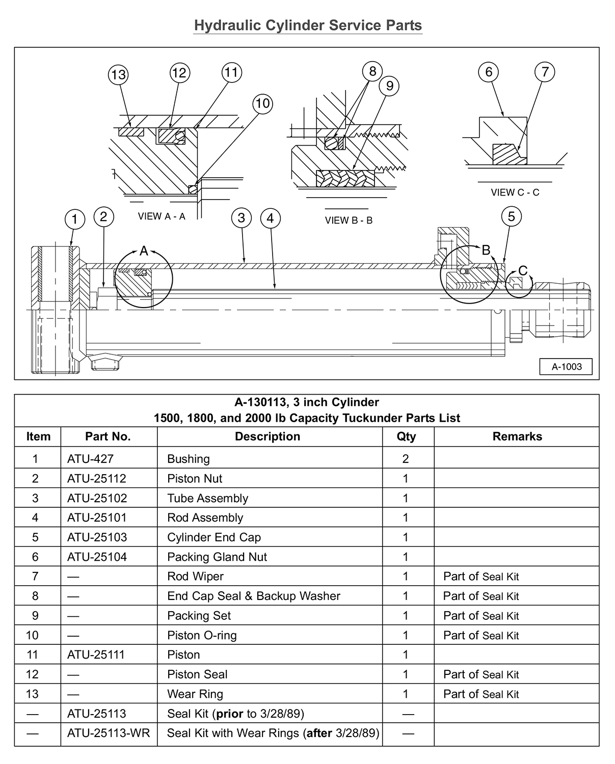 SM Hydraulic Cylinder Service Parts Diagram (For 1500, 1800, and 2000 lb Capacity Liftgates)