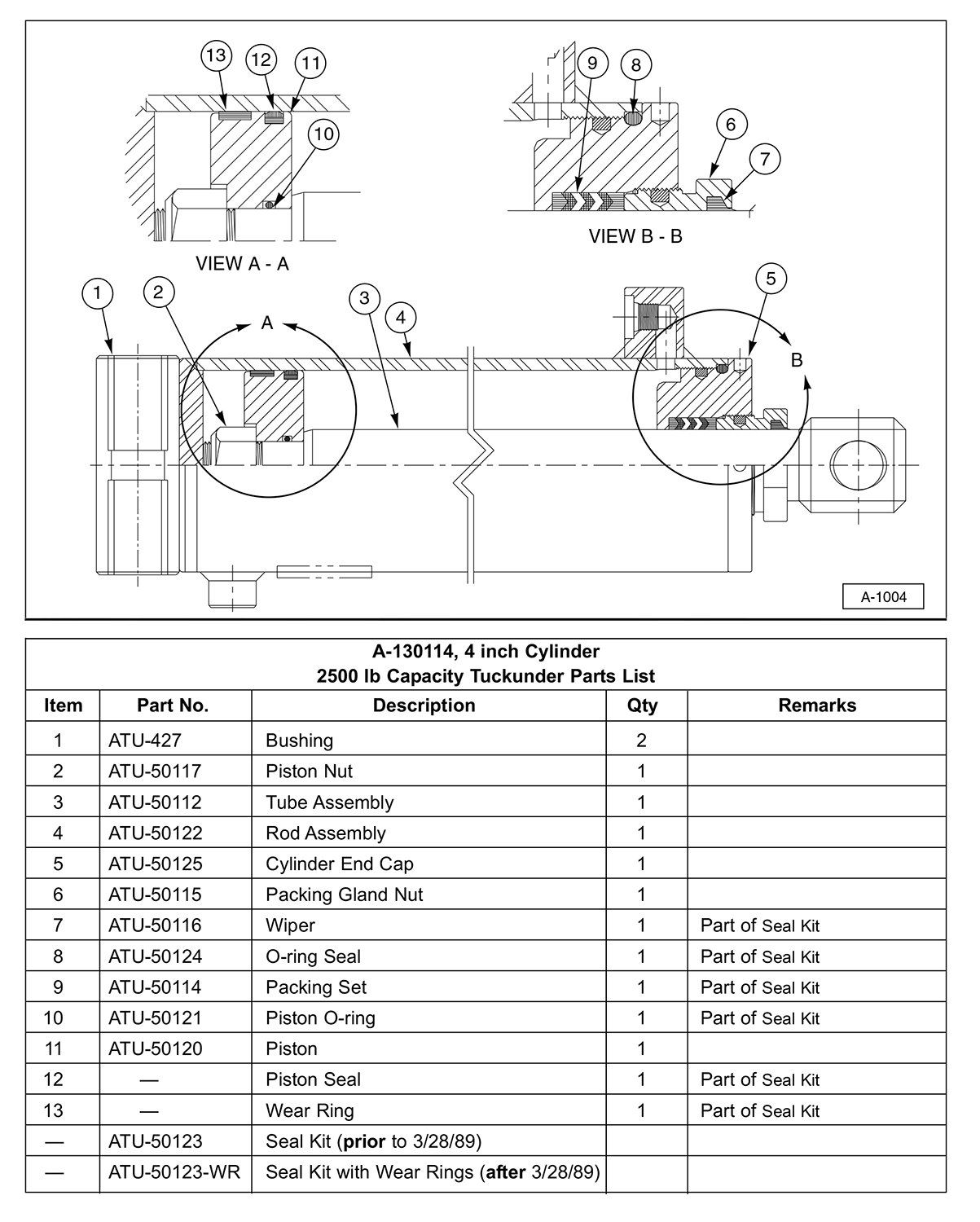 SM Hydraulic Cylinder Service Parts Diagram (For 2500 lb Capacity Liftgates)