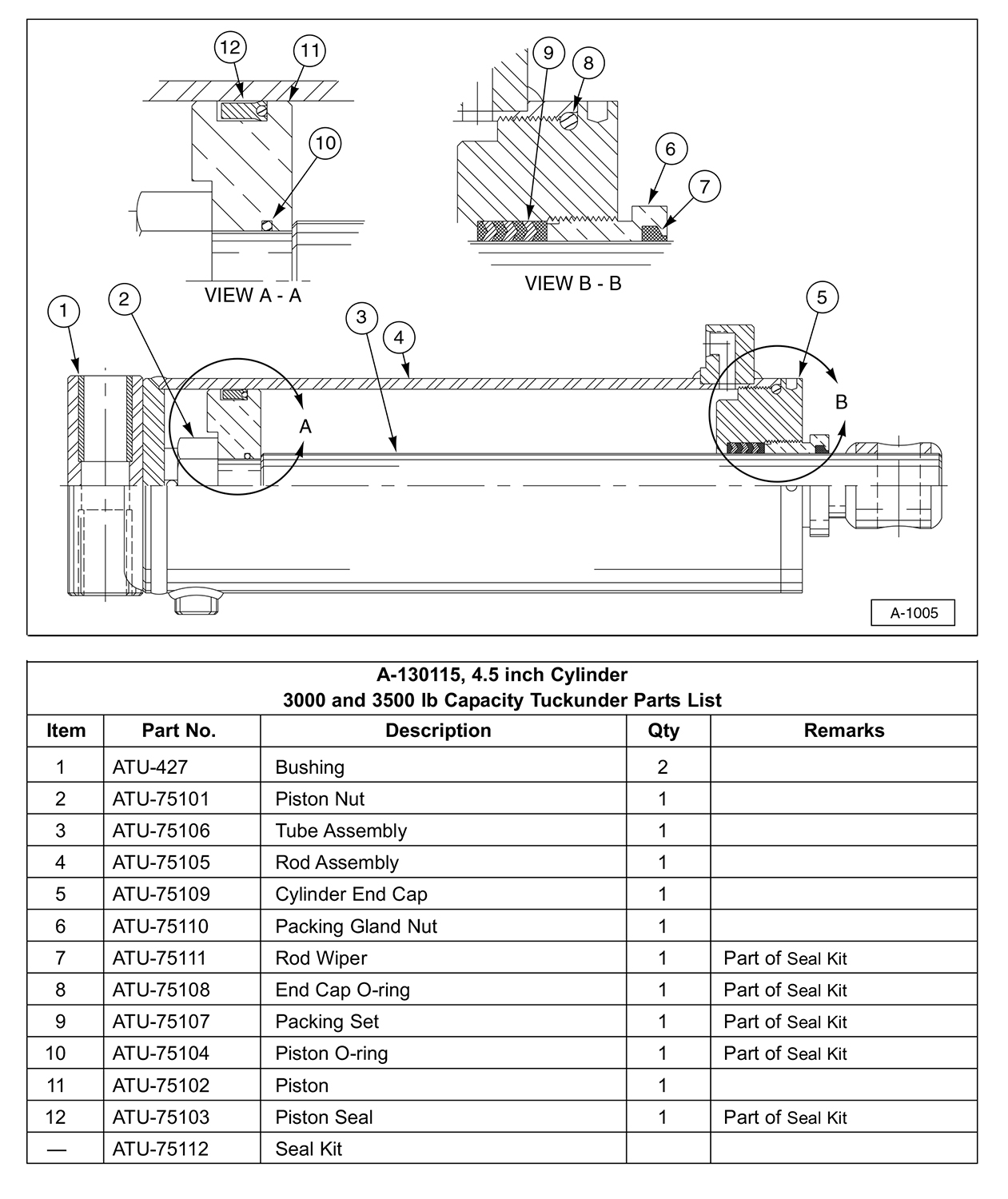 SM Hydraulic Cylinder Service Parts Diagram (For 3000 and 3500 lb Capacity Liftgates)