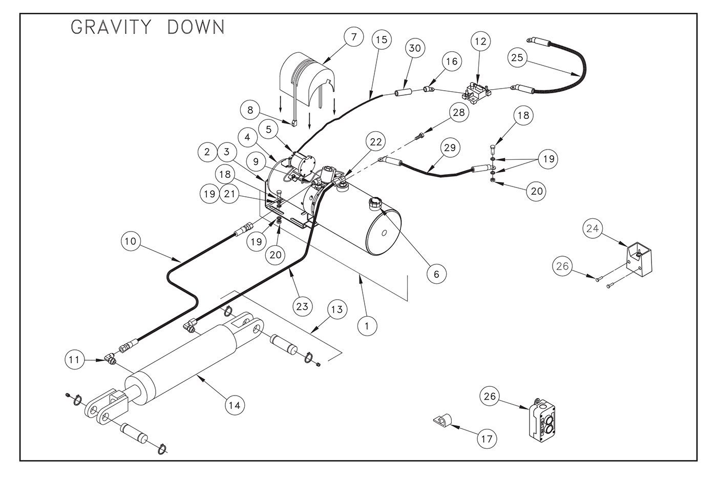 ST22 Electric Control Pump Assembly (Gravity Down) Diagram