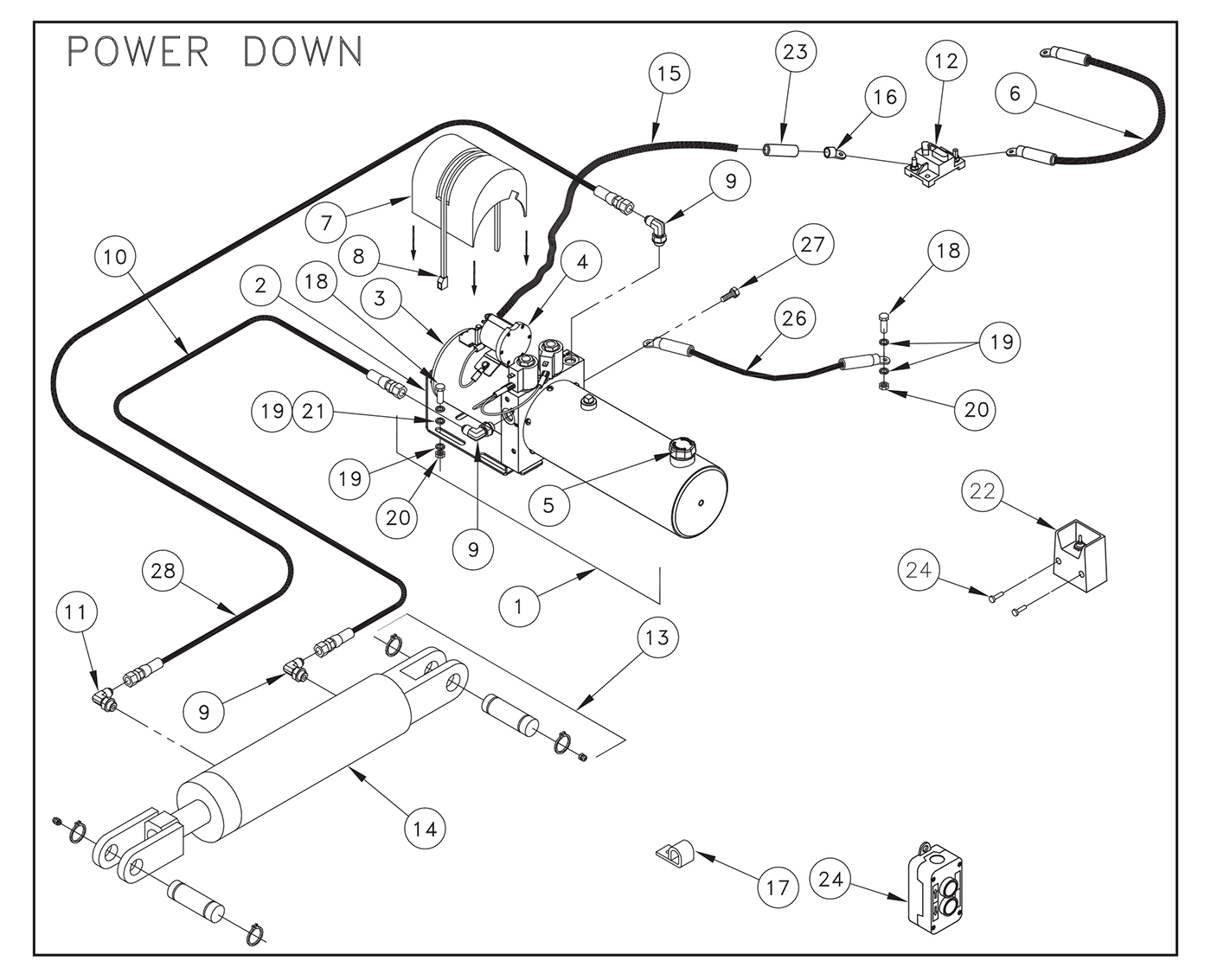 ST22 Electric Control Pump Assembly (Power Down) Diagram