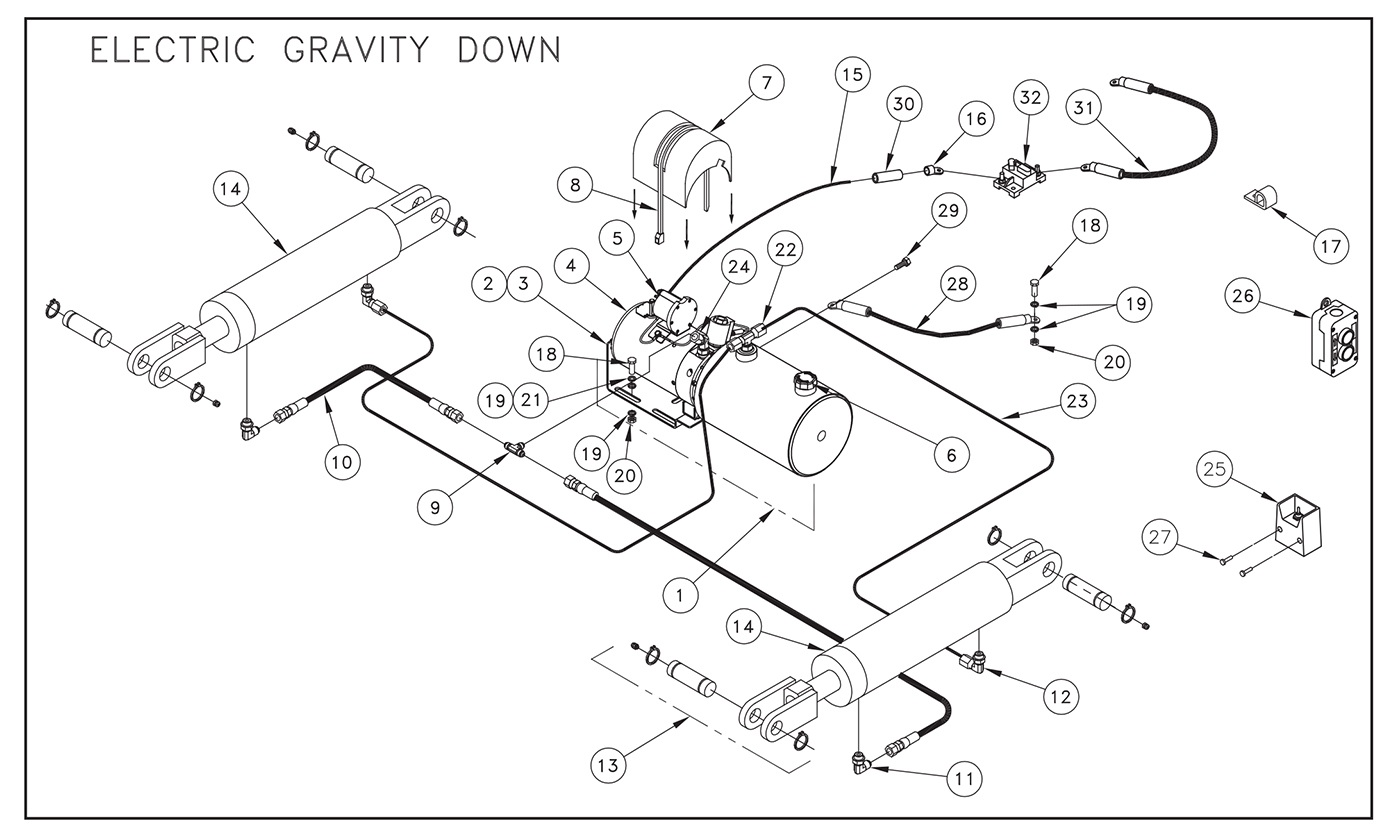 ST31 Electric Control Pump Assembly (Gravity Down) Diagram