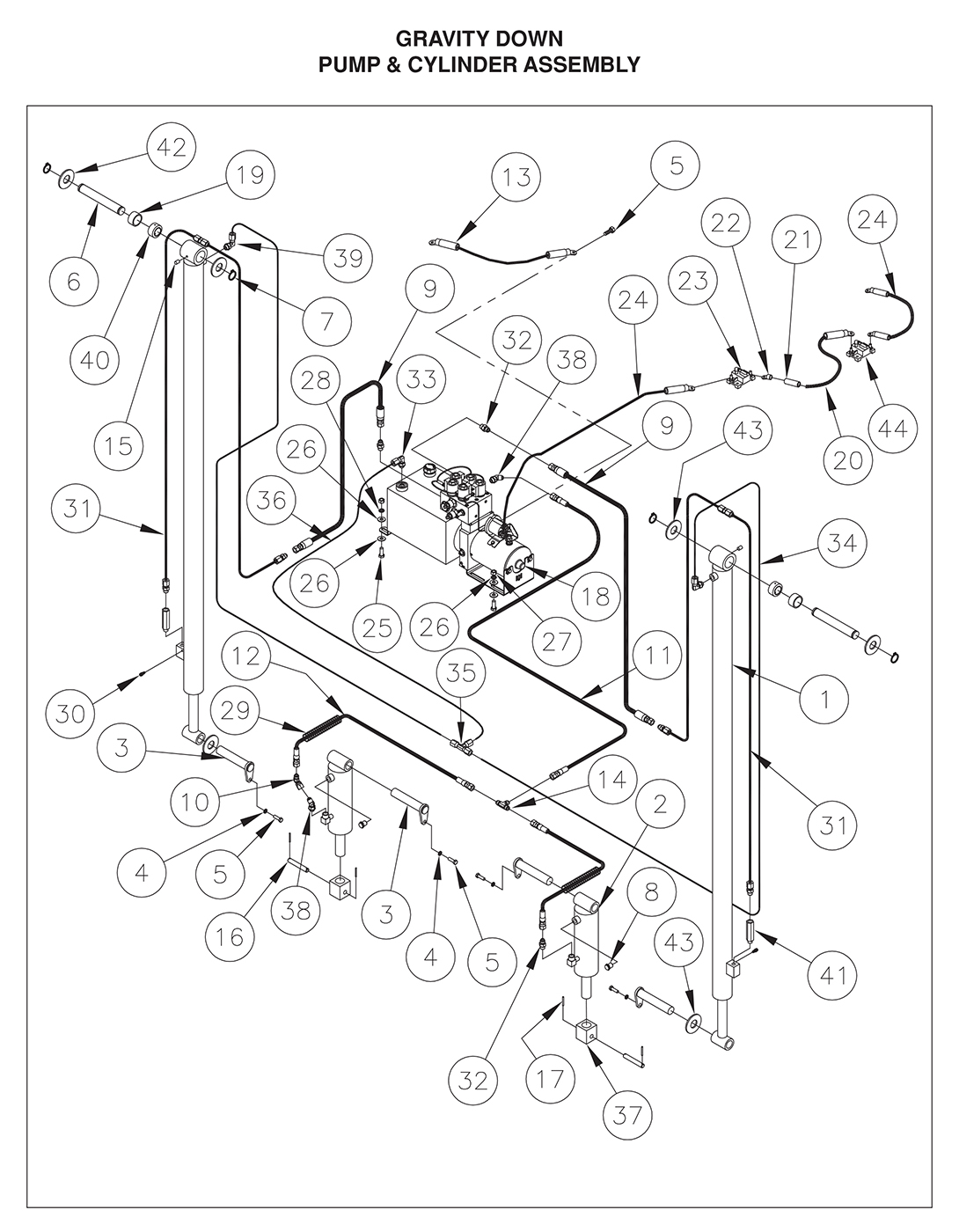 TDR 44/55/66 Pump & Cylinder Assembly (Gravity Down) Diagram