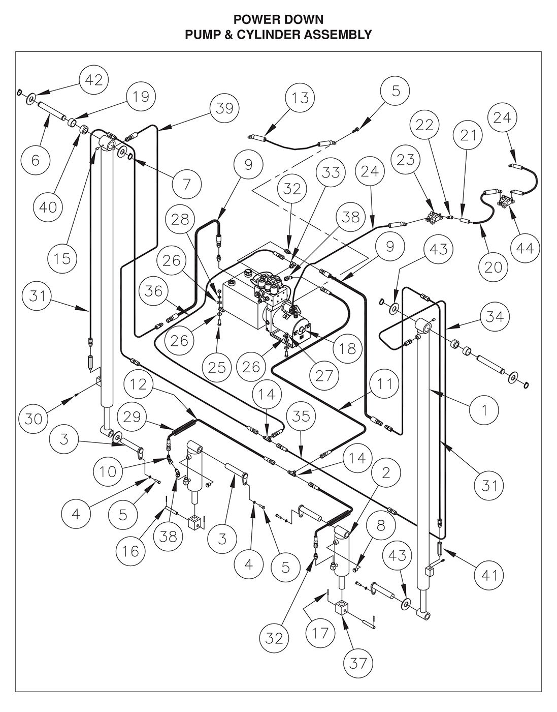 TDR 44/55/66 Pump & Cylinder Assembly (Power Down) Diagram
