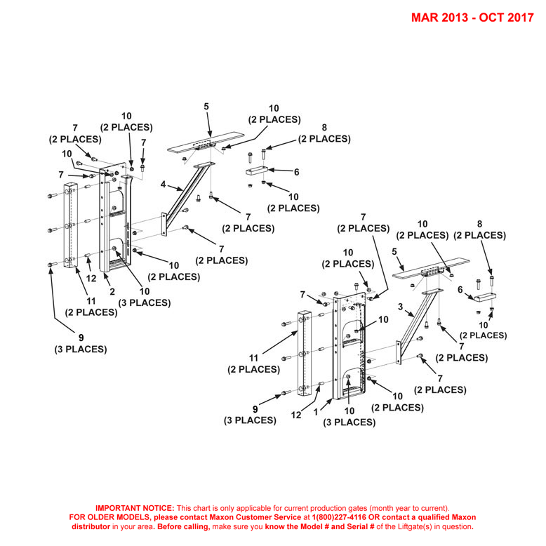 TE-20 (Mar 2013 - Oct 2017) Galvanized Bolt-On Dual Steps Assembly Diagram