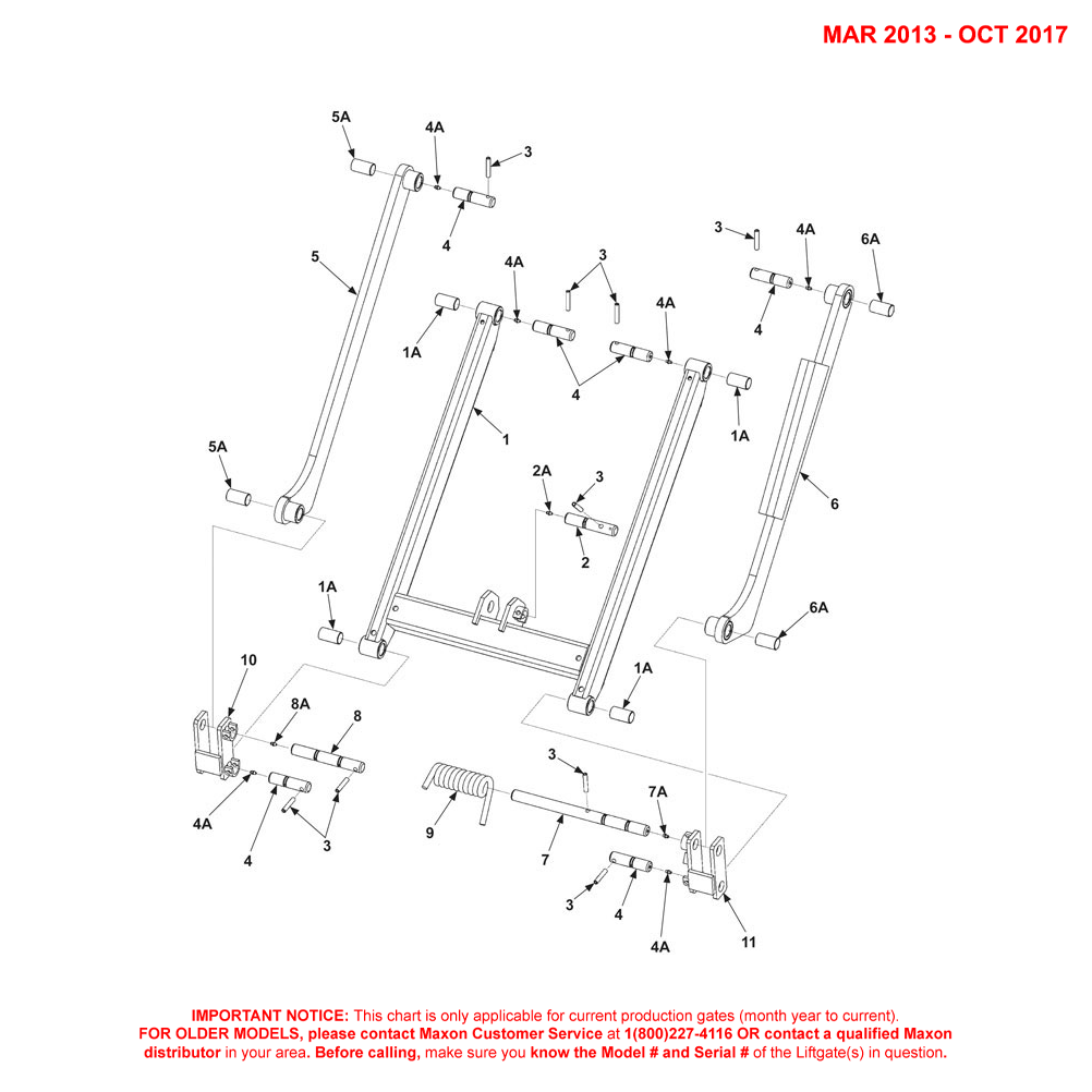TE-20 (Mar 2013 - Oct 2017) Lift Frame And Parallel Arms Diagram