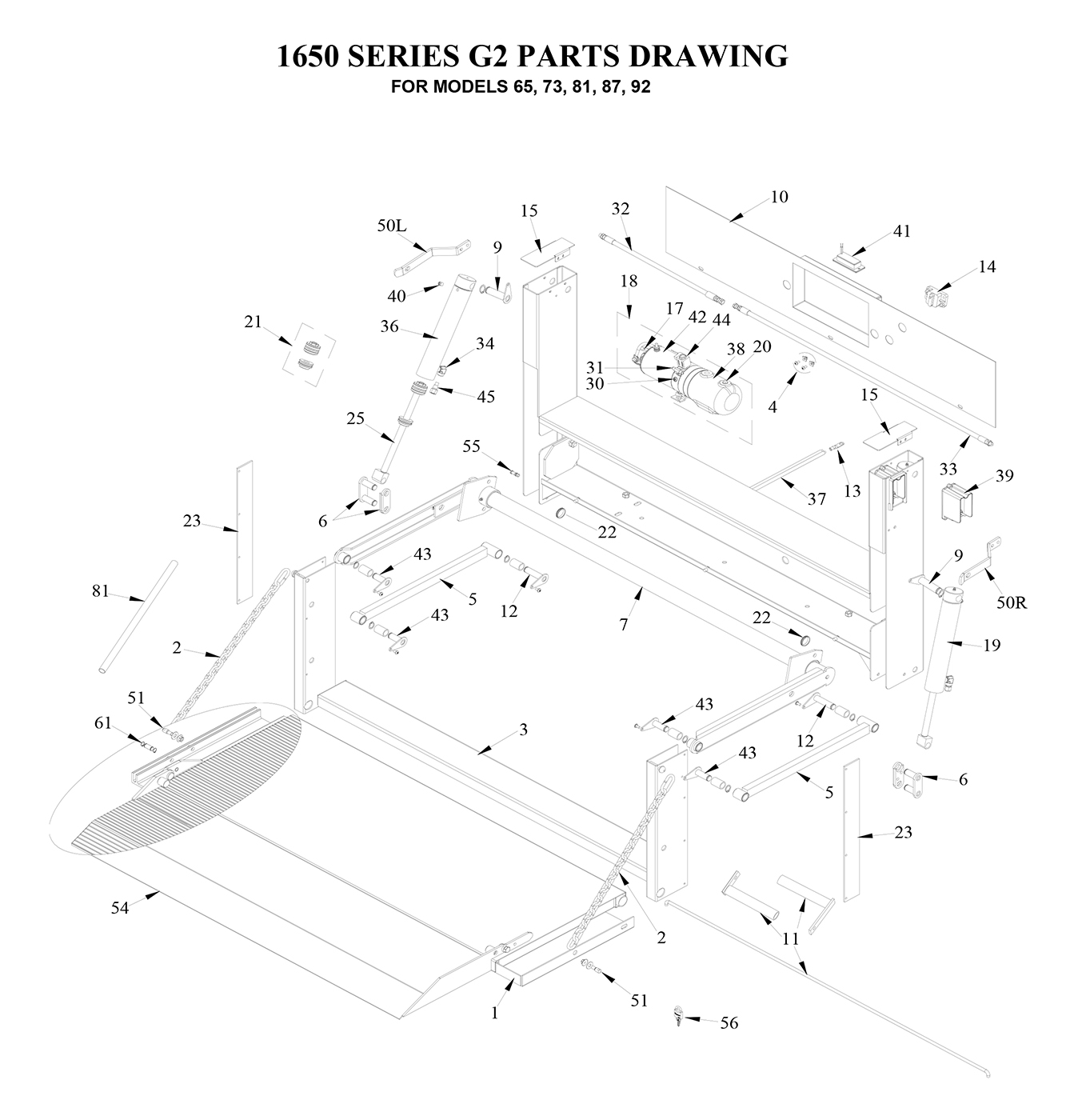Tommy Gate G2 Series Diagram [Flatbed, Stake, Van & Dump Body]