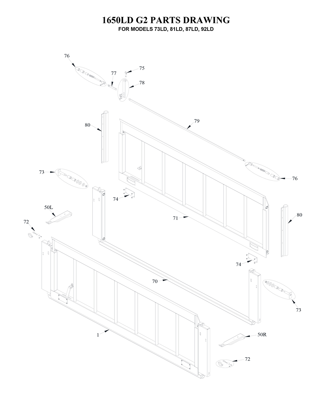 Tommy Gate G2 Series Lift-And-Dump Diagram [Flatbed, Stake, Van