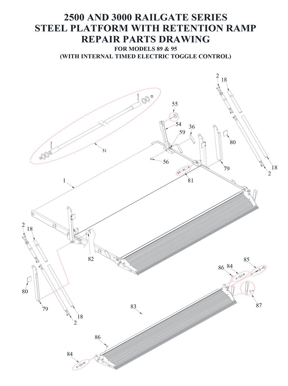 Tommy Gate Railgate Series Bi-Fold Diagram (2 OF 2) [Flatbed, Stake & Van]