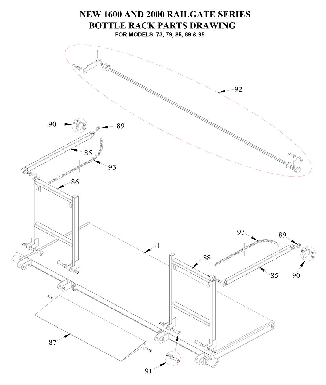 Tommy Gate Standard Railgate Series Diagram (2 OF 3) [Flatbed, Stake & Van]