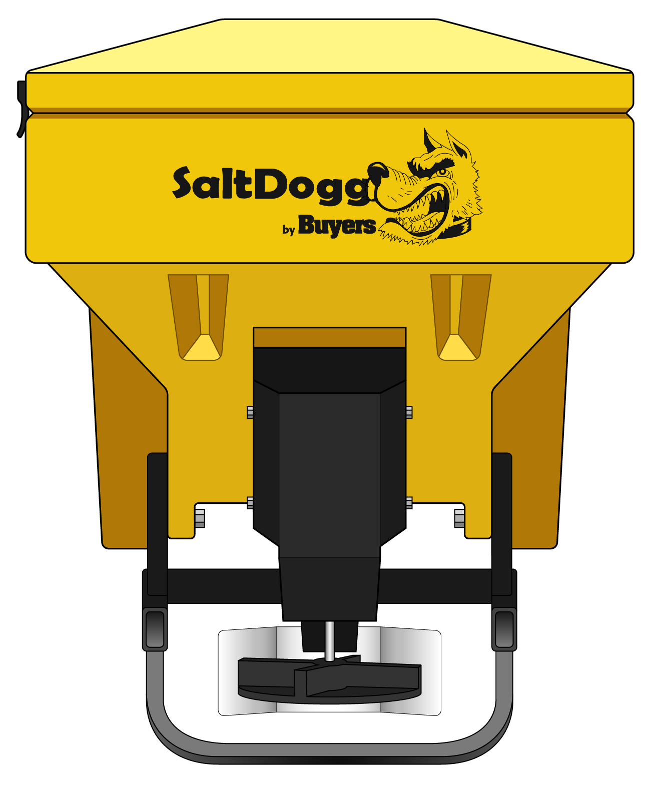 TGS03YEL-S.A.M. SaltDogg TGS03 8.0 Cubic Foot Yellow Polymer Electric Tailgate Spreader