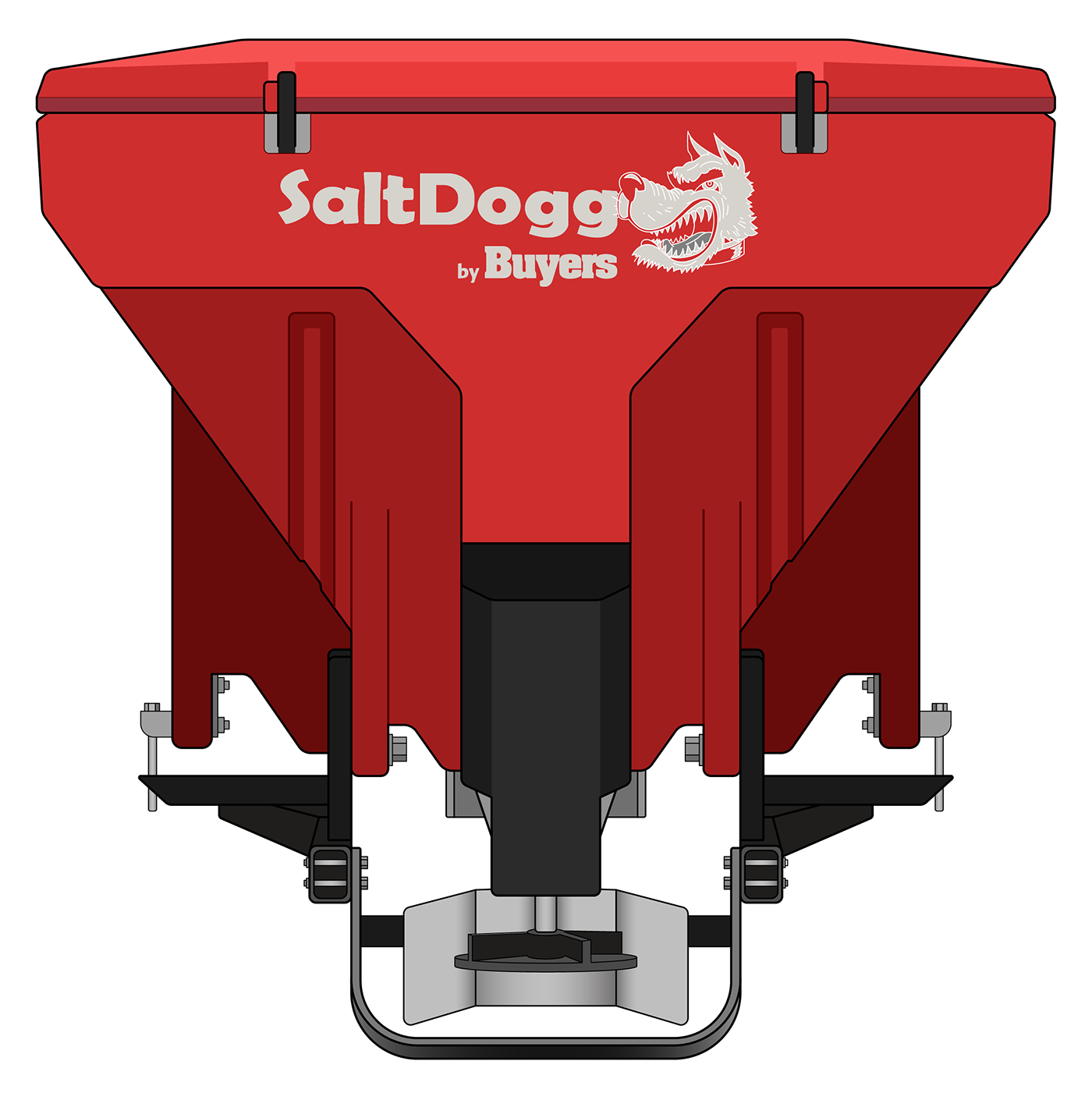 TGS07RED-S.A.M. SaltDogg TGS07 11.0 Cubic Foot Red Polymer Electric Tailgate Spreader