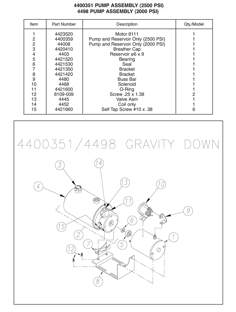 Thieman 4400351/4498 Pump Assembly Diagram