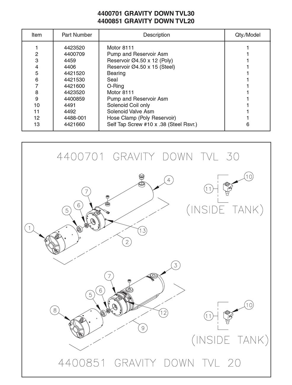 Thieman 4400701/4400851 Pump Assembly Diagram