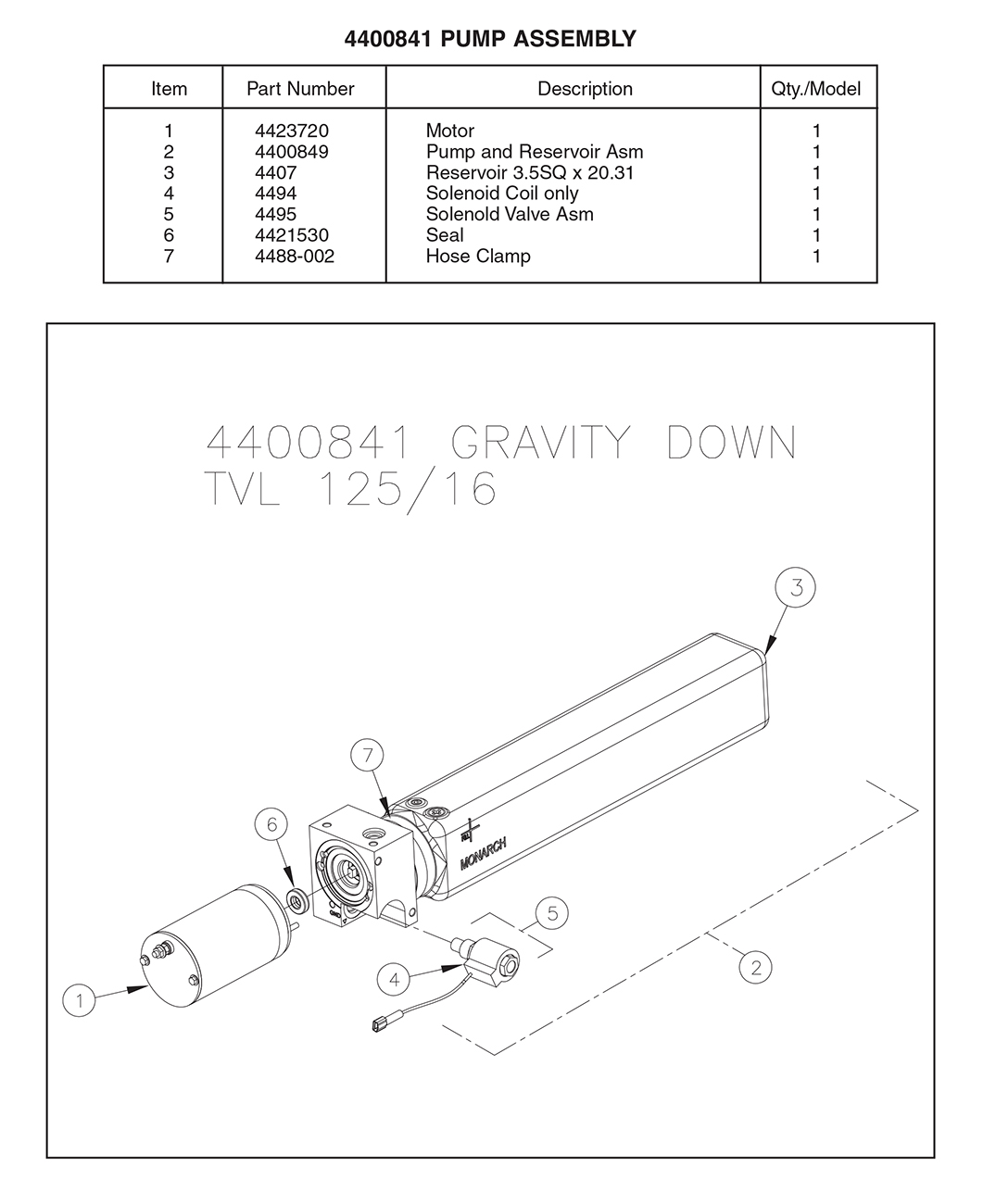 Thieman 4400841 Pump Assembly Diagram