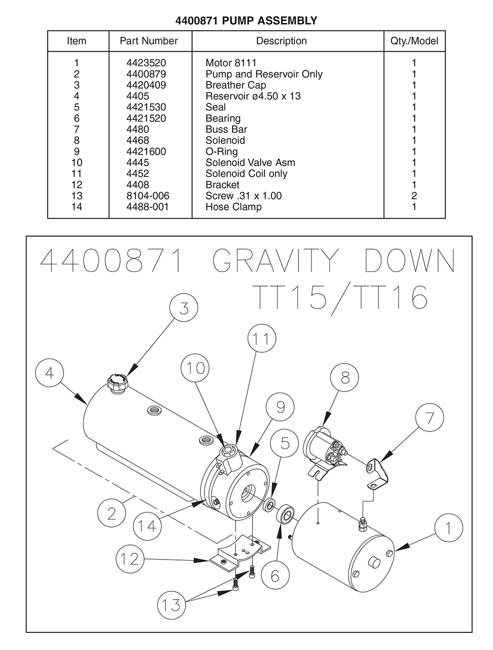 Thieman 4400871 Pump Assembly Diagram