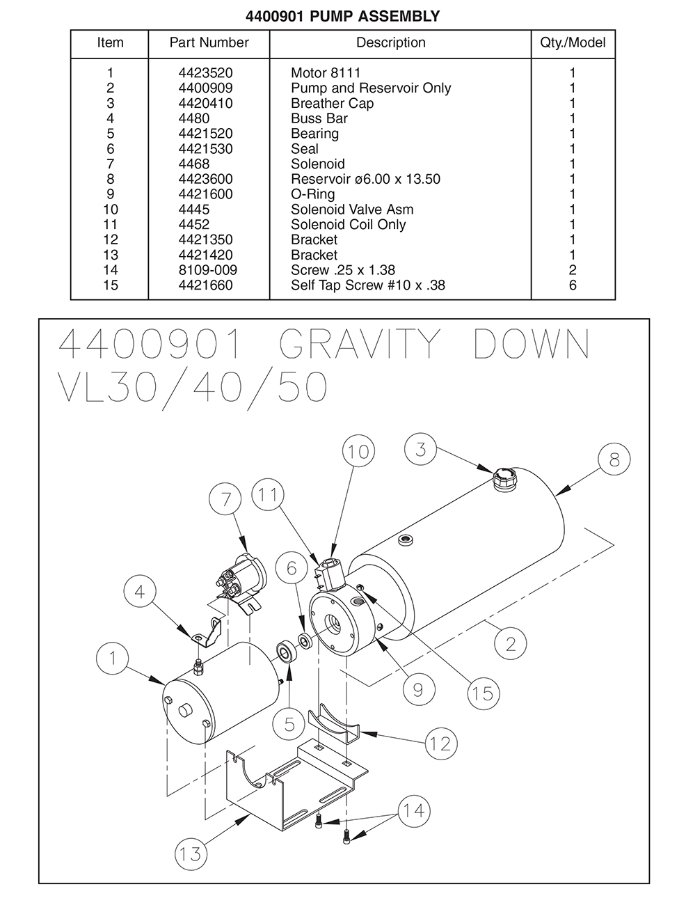Thieman 4400901 Pump Assembly Diagram