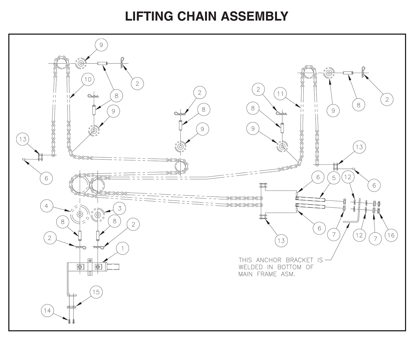 TVLR 125/16/125A/16A Lifting Chain Assembly Diagram