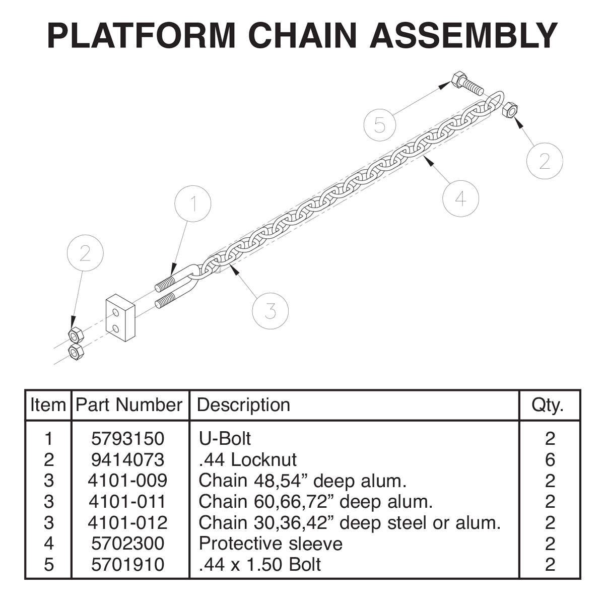 TVLR 20/20A Platform Chain Assembly Diagram
