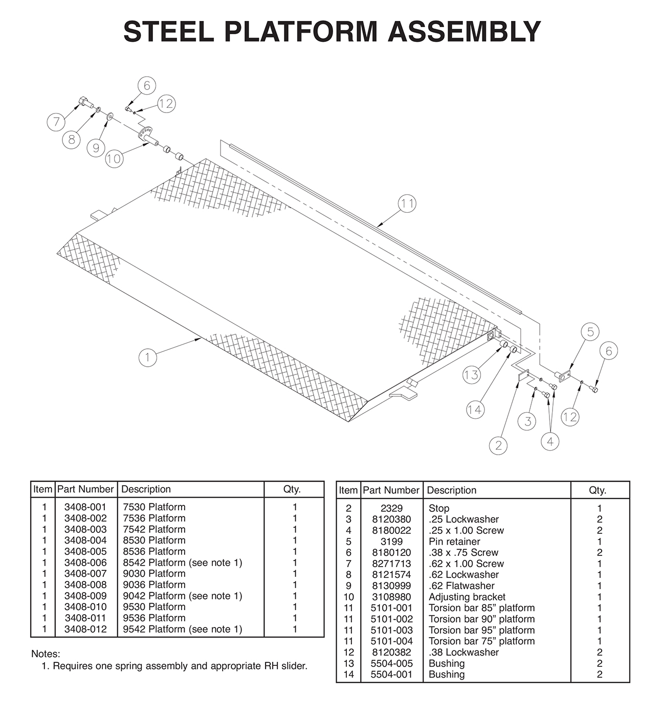 TVLR 20/20A Steel Platform Assembly Diagram