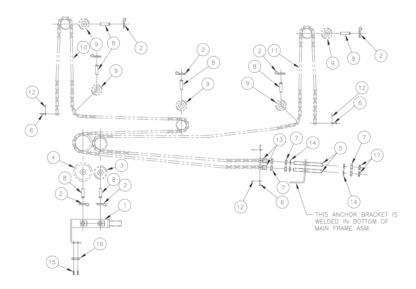 TVLR 30/30A Lifting Chain Assembly Diagram