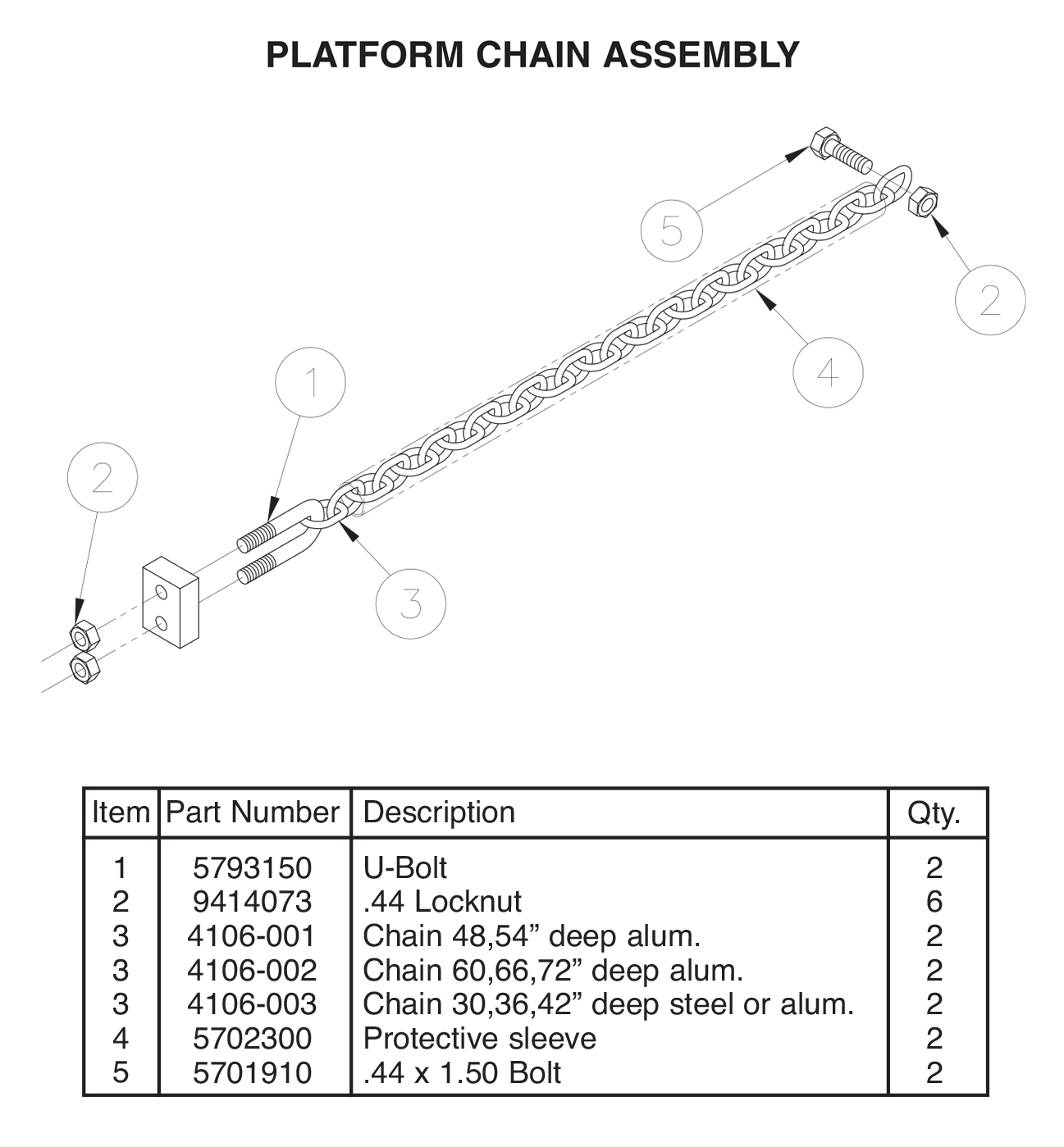 TVLR 30/30A Platform Chain Assembly Diagram
