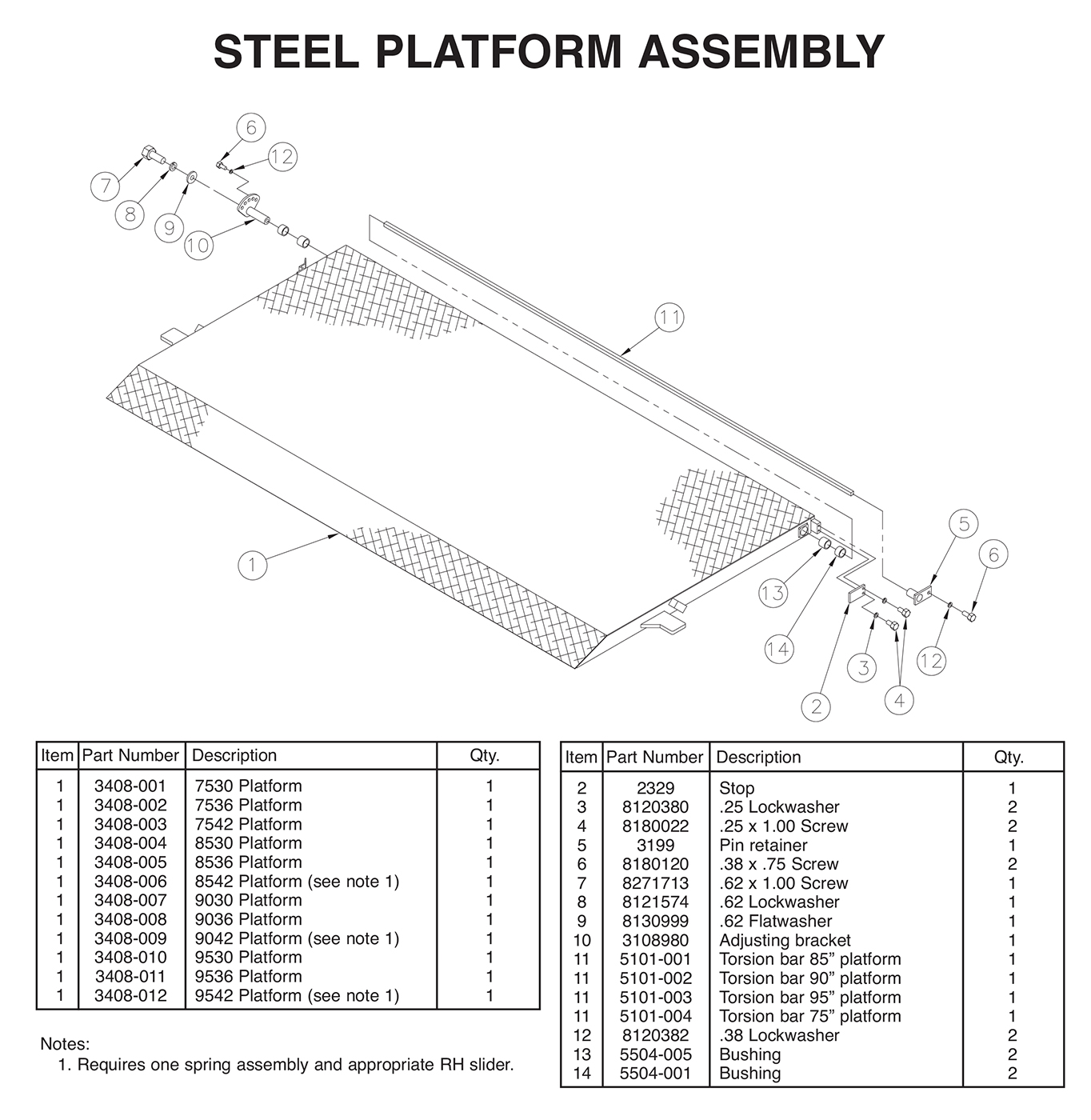 TVLR 30/30A Steel Platform Assembly Diagram