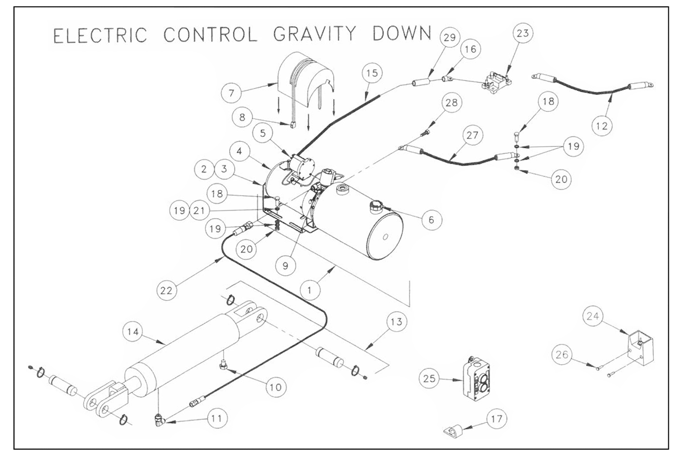 TWL125/16/20 Pump Assembly (Electric Control, Gravity Down) Diagram