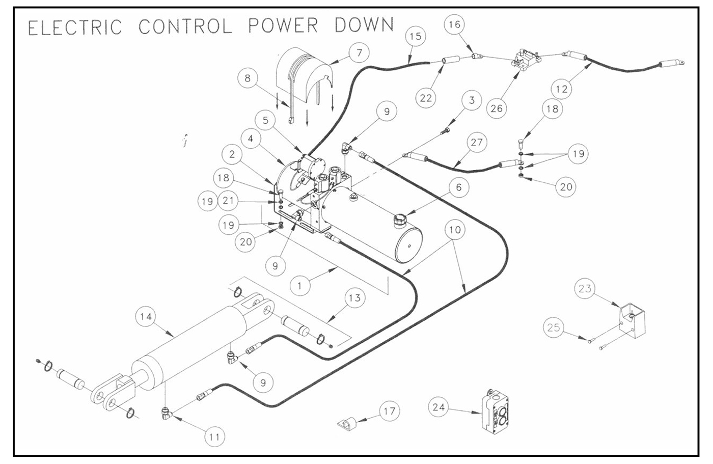TWL125/16/20 Pump Assembly (Electric Control, Power Down) Diagram