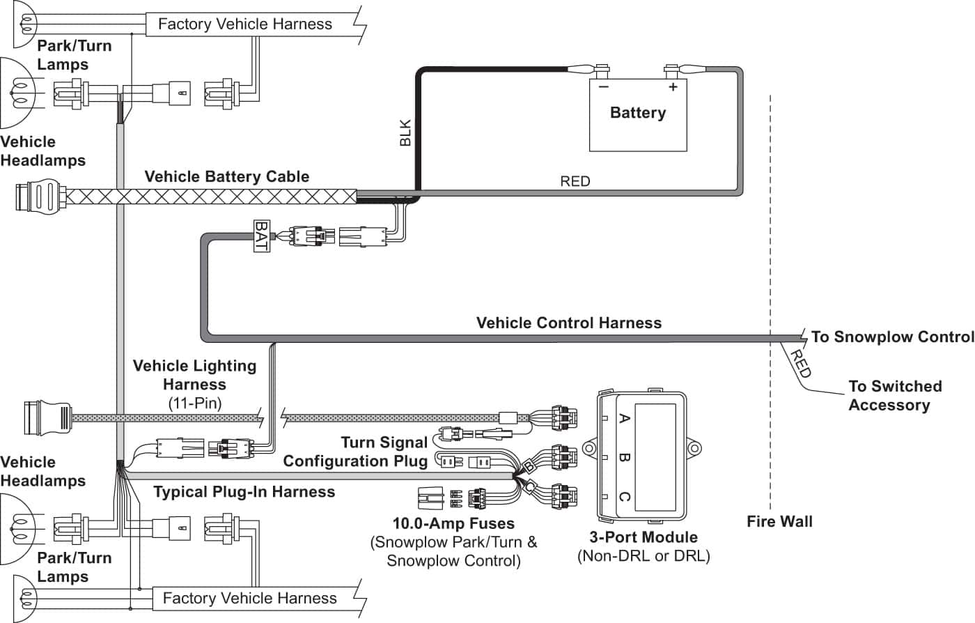 XtremeV Vehicle-Side Harness Diagram (3-Port, 2-Plug)