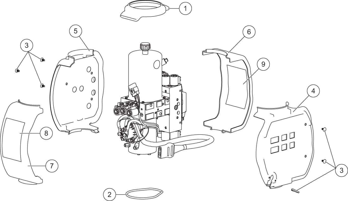 XV2 Hydraulic Unit Cover Assembly Diagram